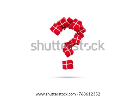 Question mark of gifts on a white background. The question of what to present for the new year. The concept of what to choose a gift.