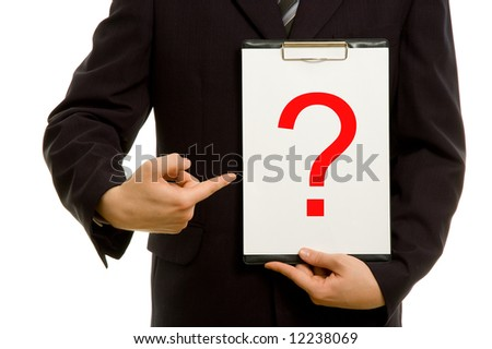 Question mark on clipboard in the hand of a businessman - stock photo
