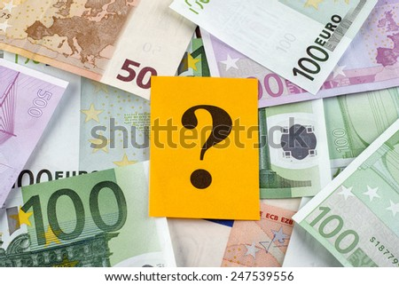 Question mark on euro banknotes. - stock photo