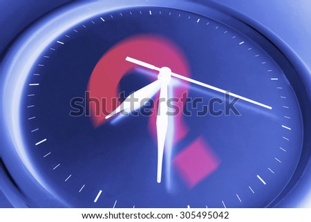 Question Mark on Wall Clock - stock photo