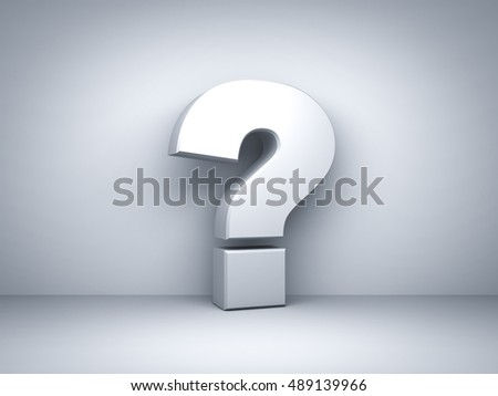 Question mark on white background. 3D rendering.
