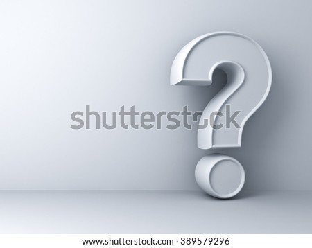 Question mark on white wall background