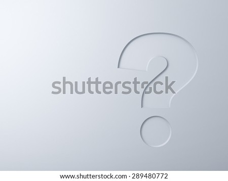 Question mark on white wall background abstract concept - stock photo