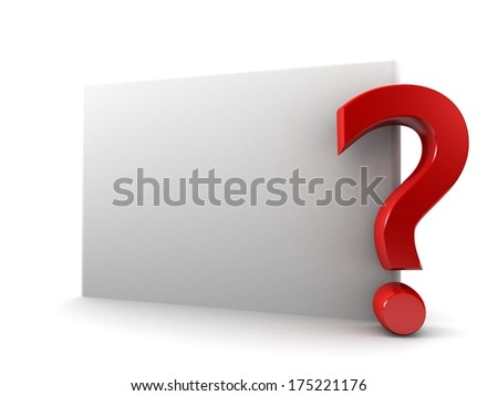 Question mark on white wall background 3d render blank trade show booth for designers. Background empty room with space for your text and picture.  - stock photo