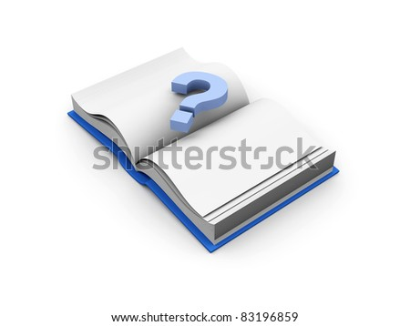 Question mark over a book. 3D rendered Illustration.