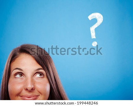 Question mark - Portrait of a young woman has a question, is asking herself something. Question mark over her head. - stock photo