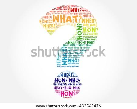 Question mark, Question words cloud concept - stock photo