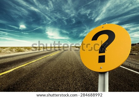 Question Mark, Road Sign, Sign. - stock photo