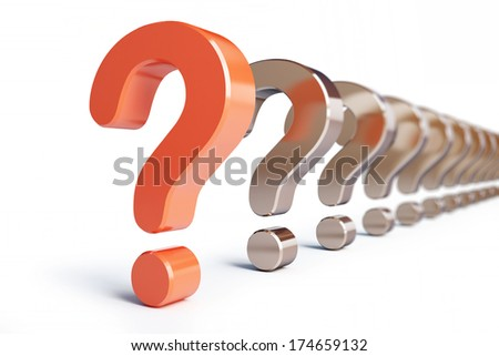 question mark row on a white background - stock photo