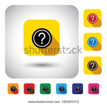 question mark sign on button - flat design graphic icon. This long shadows graphic symbol also represents website FAQ, problem areas, asking questions, expressing doubts, who, what, when, why, which - stock photo