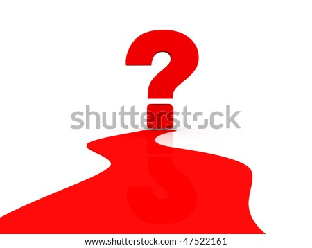 question mark standing on the way - stock photo