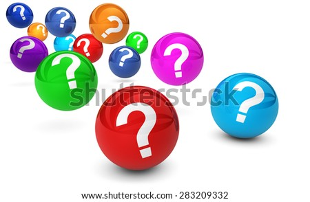 Question mark symbol and sign on colorful bouncing glossy spheres 3d render isolated on white background. - stock photo