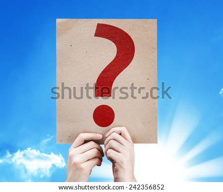 Question Mark Symbol card with a beautiful day - stock photo
