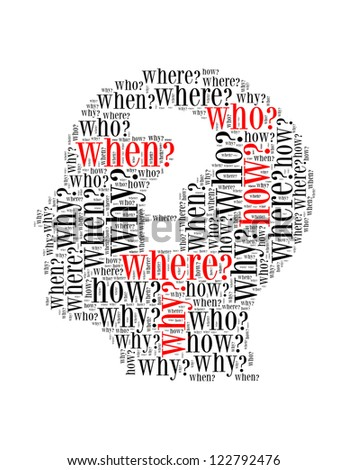 question mark text collage Composed in the shape of woman head an isolated on white - stock photo