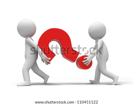 Question mark /Two people carried a Question mark - stock photo