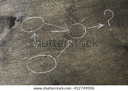 Question mark with arrows on wooden chalkboard background - stock photo
