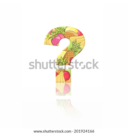 Question mark with fruit effect over white background - stock photo