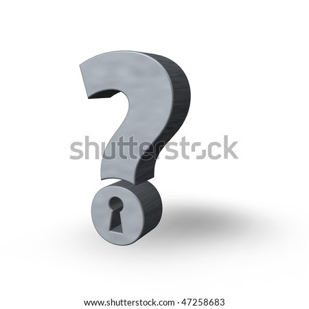 question mark with keyhole on white background - 3d illustration