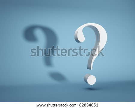 Question mark with shadow on blue background - stock photo