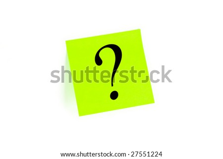 Question mark written on a note isolated on white - stock photo