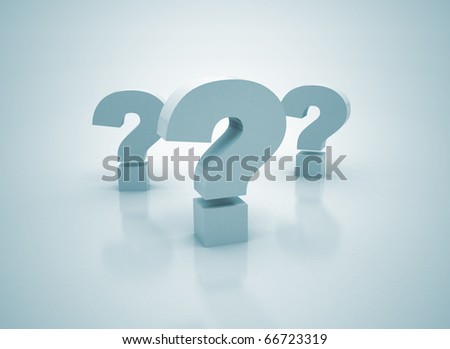 Question marks 3d render - stock photo
