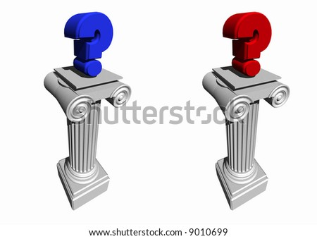 Question Marks in blue and red to represent the Democrats and Republicans sitting on columns. Isolated on a white background. Political - stock photo
