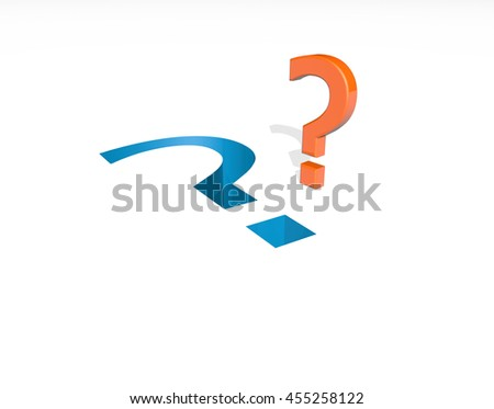 Question marks on white background.3D Rendering - stock photo