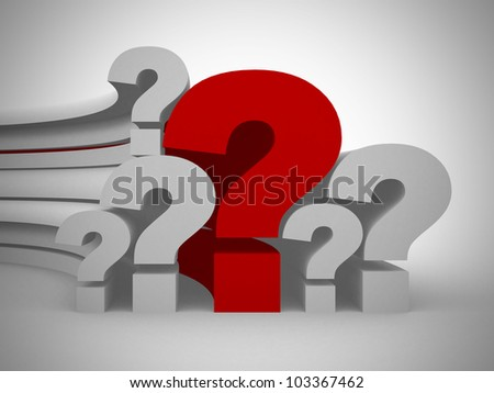 Question marks single red - 3d render - stock photo