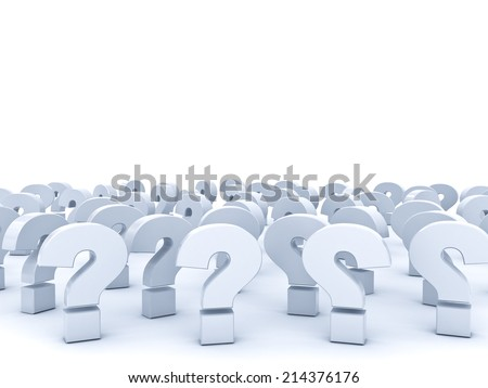 Question marks with empty space above over white background - stock photo