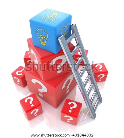 Question of creation concept idea in designing the information related to the abstraction. 3d illustration - stock photo
