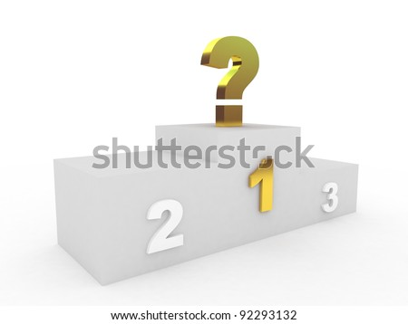 Question sign and podium on a white background, 3D - stock photo