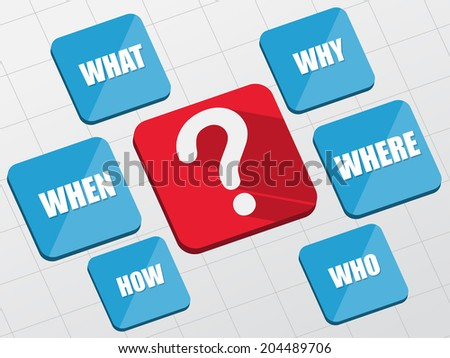 question sign and question words - white text and symbol in red and blue flat design blocks, business concept - stock photo