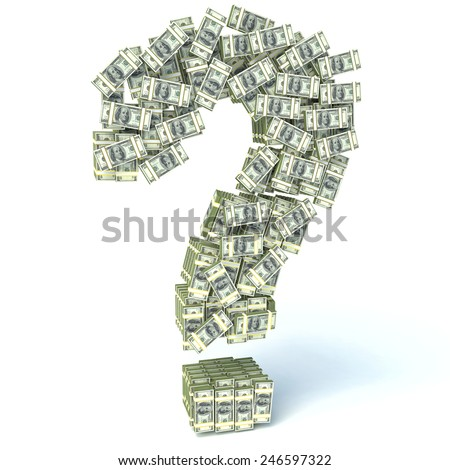 Question sign from packs of dollar isolated on white. Where to invest money concept - stock photo
