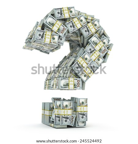 Question sign from packs of dollar isolated on white. Where to invest money concept. 3d - stock photo