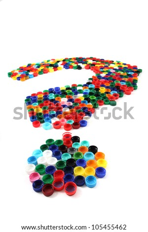 question sign from the plastic caps isolated on the white background