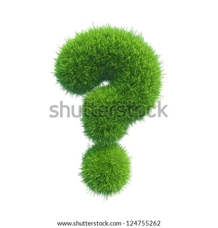 question sign grass isolated on white background - stock photo