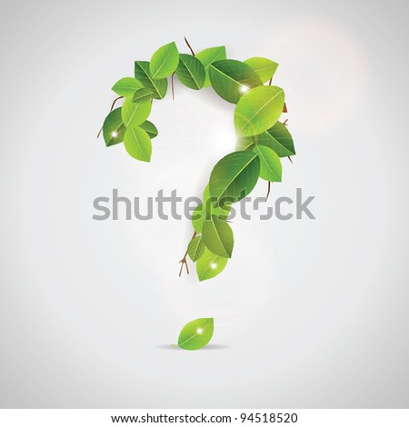 Question Sign made out of leaves - stock photo