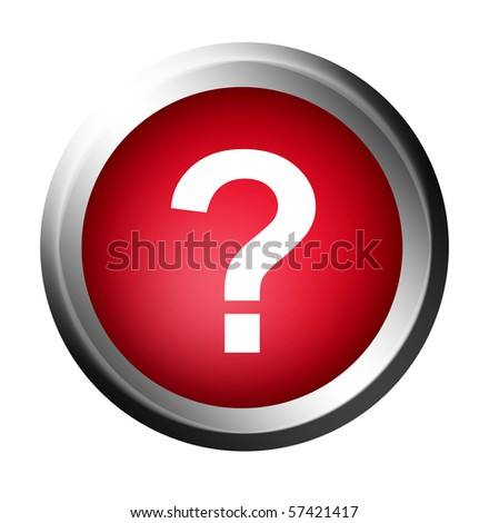 Question symbol on red button. Chrome frame, Isolated illustration - stock photo