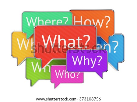 Question words What Where Why When Who and How in colorful speech bubbles isolated on white background. Confusion, QnA and feedback concept. - stock photo