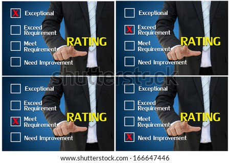 Questionnaire for performance assessment and evaluation for business analysis concept