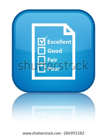 Questionnaire icon cyan blue square button - stock photo