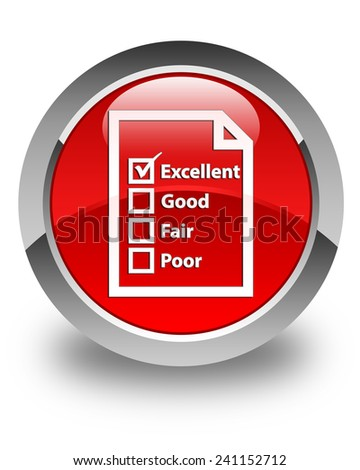 Questionnaire icon glossy red round button - stock photo