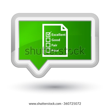 Questionnaire icon green banner button - stock photo