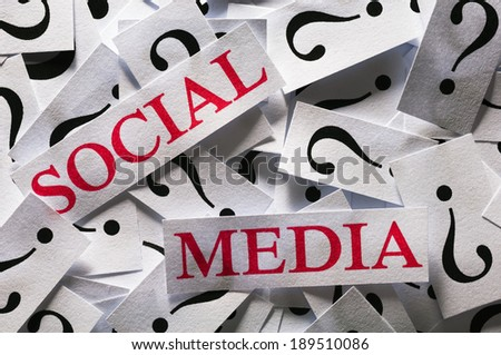 Questions about the Social Media , too many question marks - stock photo