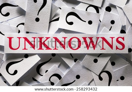 Questions about the Unknowns , too many question marks - stock photo