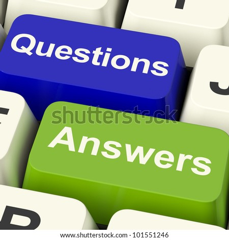 Questions And Answers Computer Keys Showing Support Knowledge And Wiki - stock photo