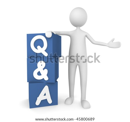 Questions and Answers. Concept depicting man leaning on to Q&A boxes; great for web sites, advertisements, help concepts. - stock photo