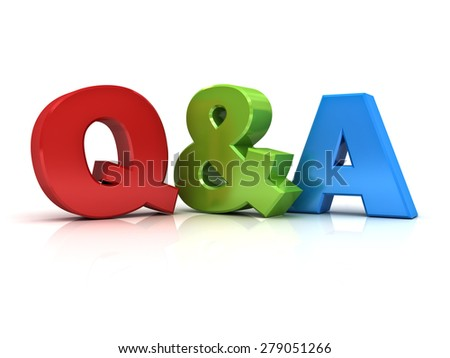 Questions and answers concept Q and A word isolated over white background