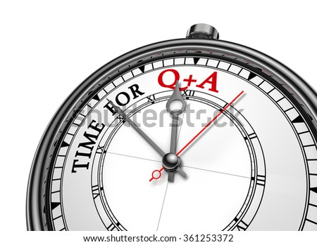 Questions and answers  motivation message on concept clock, isolated on white background - stock photo
