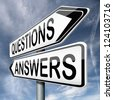 questions answers ask the right question and get an answer road sign indicating online help or support desk solving problems - stock photo